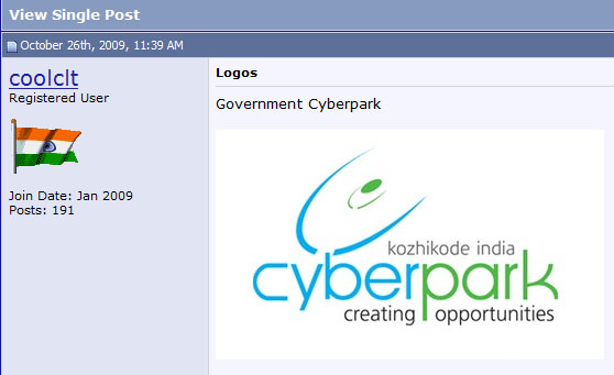 SkyscraperCity forum entry showing my logo for CyberPark Kozhikode