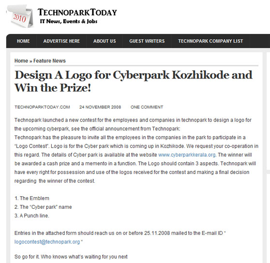 TechnoParkToday announces logo design competition for CyberPark Kozhikode