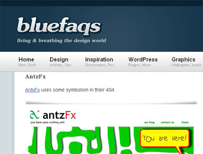 antzFX.com 404 page in BlueFaqs Blog