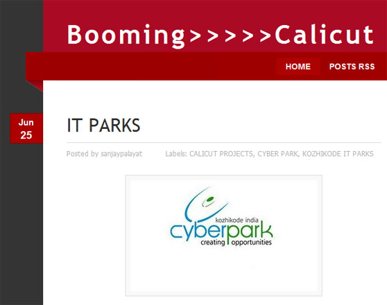 Blooming Calicut blog entry showing CyberPark logo