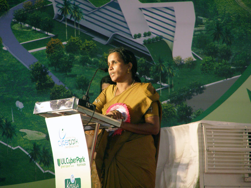 Smt. E M Girija, Councillor, Corporation of Kozhikode at CyberPark