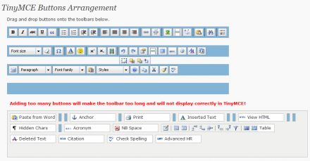TinyMCE Advanced WordPress Plugin Button Arrangement