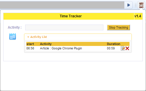 Time Tracker Chrome Plugin