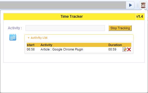 Time Tracker Chrome Plugin