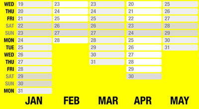 coloring scheme Year Planner 2011
