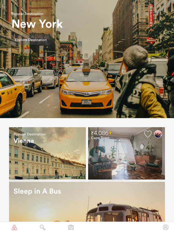 A featured tile with a go-to-action text 'Explore Destination' of Airbnb iPad app.