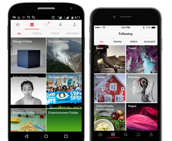 Flipboard Android and iPhone apps with tabs.