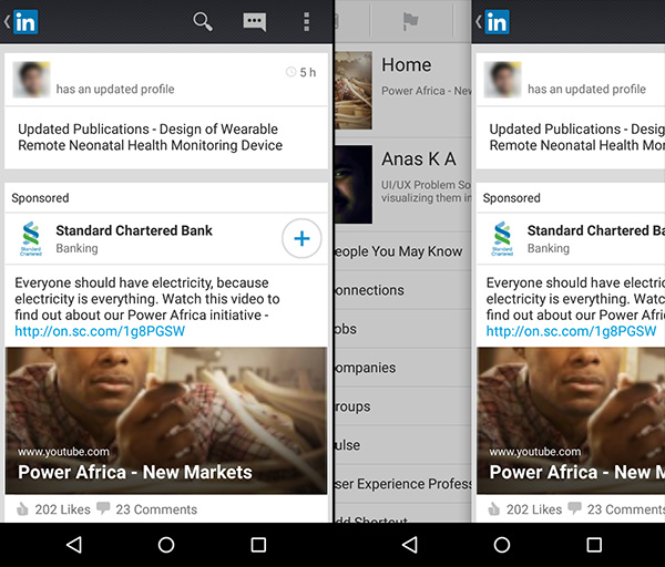 LinkedIn Android app with a 'Back' button on the home page. It serves as a Hamburger Menu icon.
