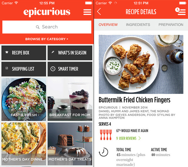 Epicurious iPhone app with the Hamburger Menu icon on the right corner.