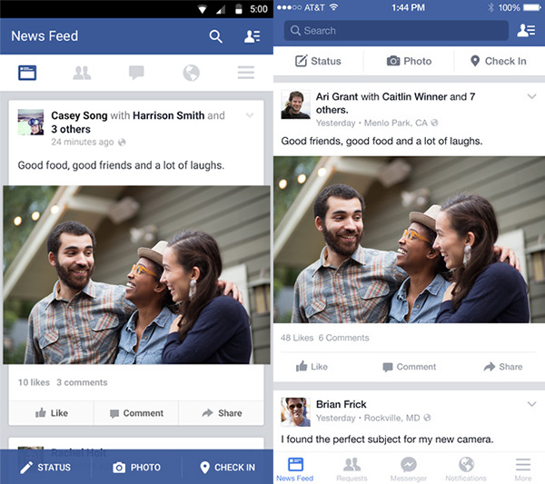 Facebook Android and iPhone apps with tabs