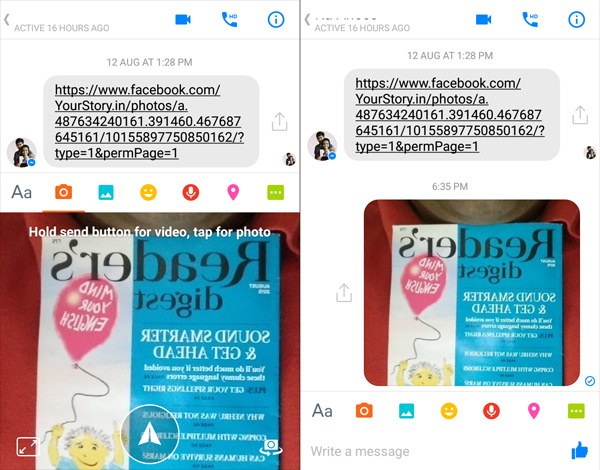 Left: Front Camera preview (mirrored)   Right: Messenger post (mirrored)