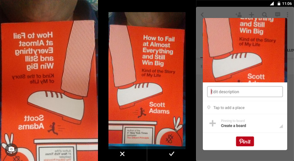 Left: Front Camera preview (mirrored) | Centre: confirmation screen (normal) | Right: Compose Pinterest pin (normal)