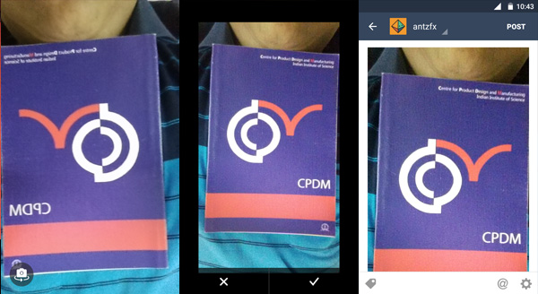 Left: Front Camera preview (mirrored) | Centre: confirmation screen (normal) | Right: Compose Tumblr post(normal)