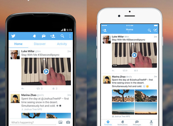Twitter Android and iPhone apps with tabs.