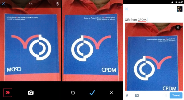 Left: Front Camera preview (mirrored) | Centre: confirmation screen (normal) | Right: Compose tweet (normal)