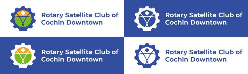 Rotary Satellite Club of Cochin Downtown logo color options