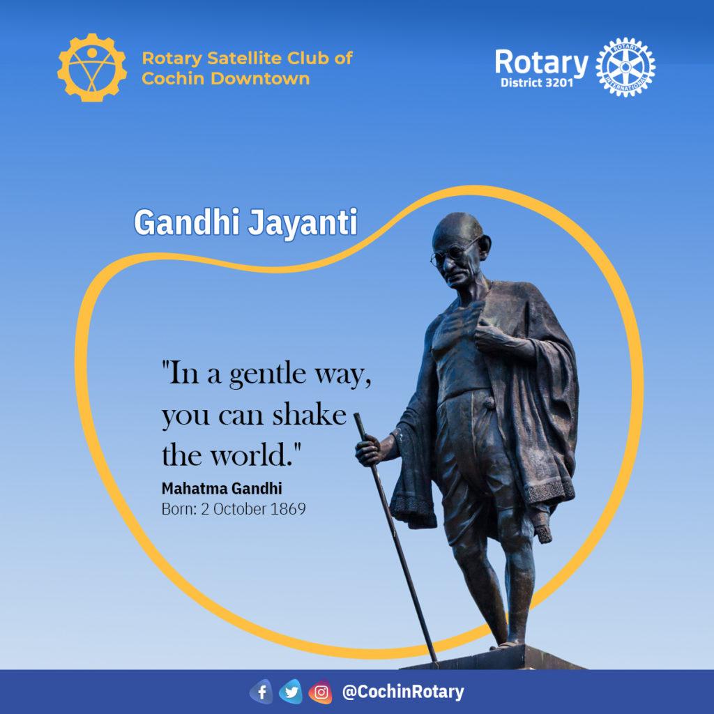 Gandhi Jayanti poster showing the Rotary Satellite Club logo
