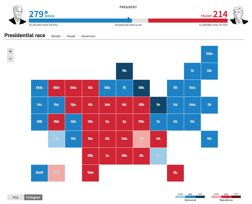 Presidential race Cartogram by Reuters