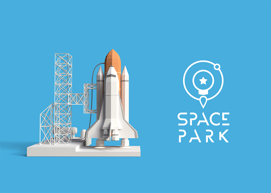 Space Park logo and space shuttle