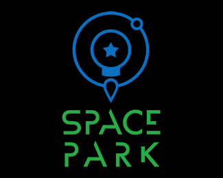 The final version of the Space Park logo rendered in dark background