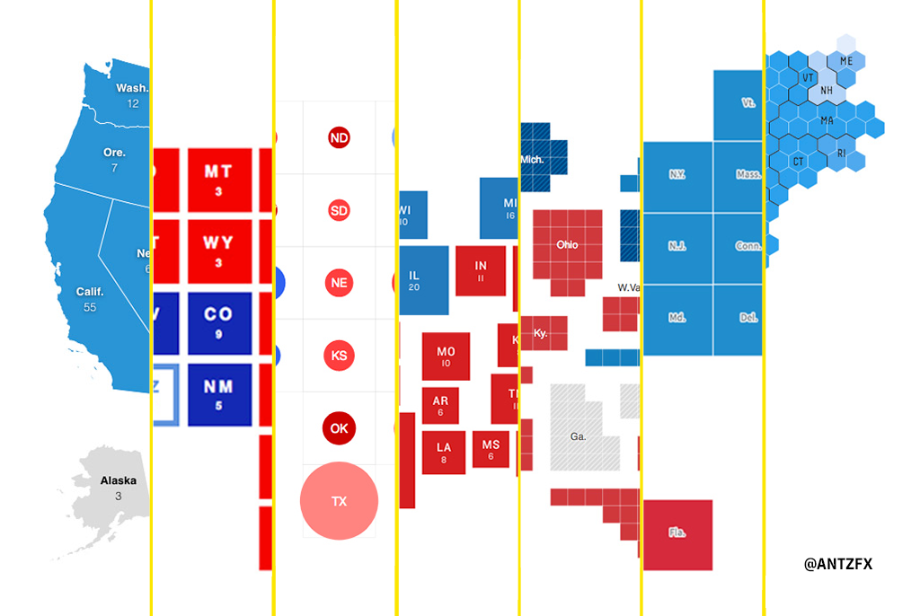 The United States political map represented in the Election 2020 results data visualization by various media outlets